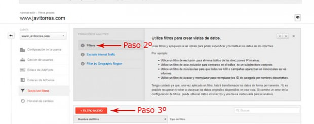 Filtro Google Analytics para no incluir ip