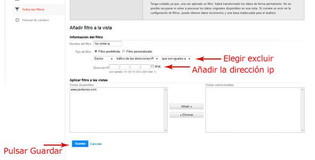 Segundo paso de cómo crear un filtro en Google Analytics para no contar mi ip