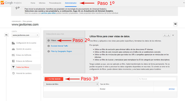 Crear filtro en Google Analytics para no contar mi ip