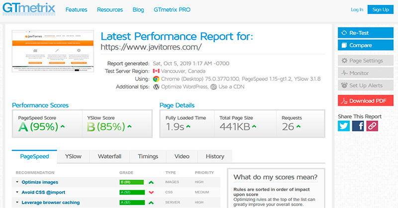GTmetrix es un test para medir la velocidad de páginas web