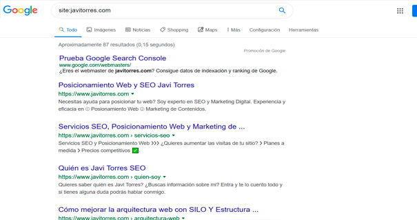 Comprobar indexación en Google