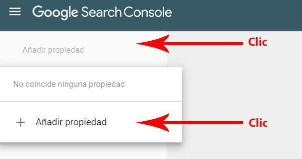 Añadir propiedad en Search Console