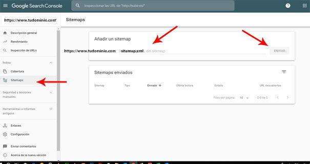 Añadir sitemap en Search Console