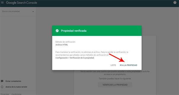 Search Console propiedad verificada