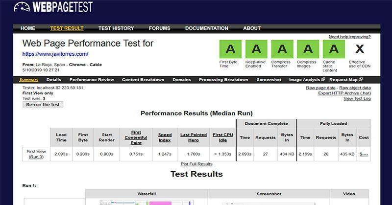 WebPageTest, test velocidad web